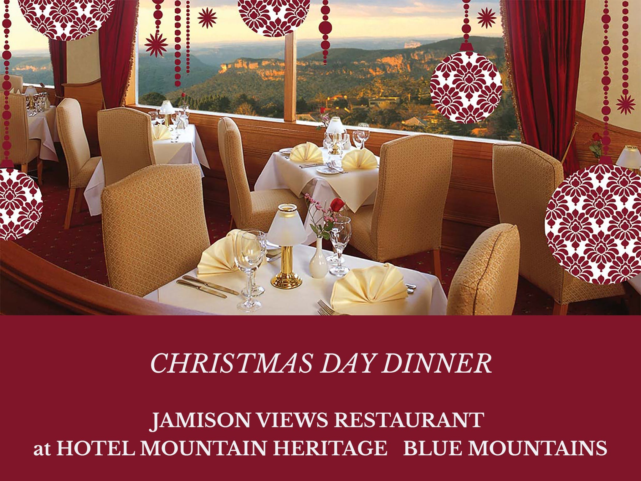 Christmas Day Dinner Hotel Mountain Heritage - Accommodation Port Macquarie